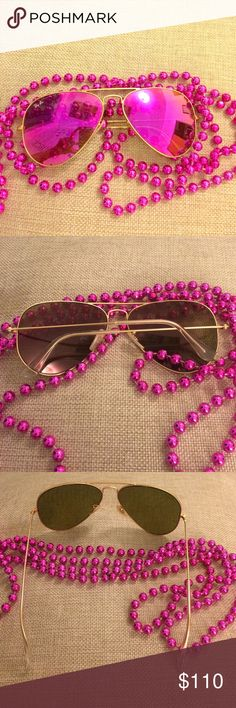 Pink mirror Ray-Ban sunglasses aviator 58mm  Be the coolest gal around with these awesome rare pink Ray Bans! Gold metal frame, fantastic condition! Ray-Ban Accessories Sunglasses