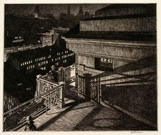 Martin Lewis, East Side Night, Williamsburg Bridge, 1928, Etching on laid paper. Smart Museum of Art, University of Chicago