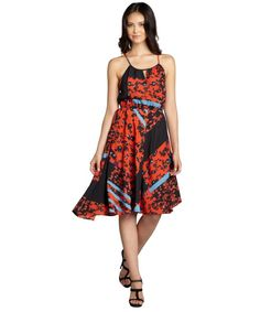 Romeo & Juliet Couture Red and black leopard print elastic waist racerback dress