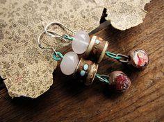 rose quartz and tibetan bead earrings - artisan made - bohemian elegance - Summer Song