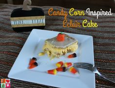 Eclair Cake is a delicious and easy dessert recipe. Enjoy this Candy Corn Inspired Eclair Cake Recipe this Halloween Season with friends and family.
