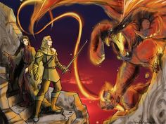 """Glorfindel, Erestor and the friendly neighborhood Balrog, this is not """"canon."""" but it's an incredible picture and I love it!"""