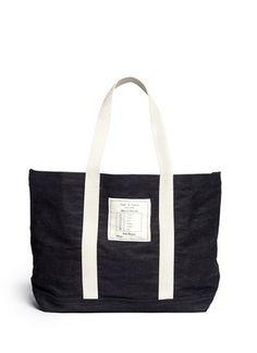 Rag & Bone / JEAN - sacola Denim | azul e verde extragrande Totes | Feminina | Pista Crawford - Loja Marcas Designer on-line