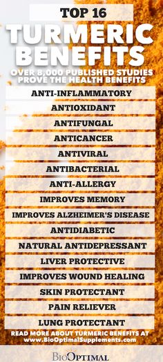 Turmeric benefits cover a wide range of health benefits.  With over 8,000 published research papers turmeric is the most studied medicinal herb in the world.  Here are our top 16 Turmeric Benefits... #turmeric #turmericbenefits   Visit our website for more information and to learn more about our BioOptimal Organic Turmeric Curcumin Capsules with Black Pepper.