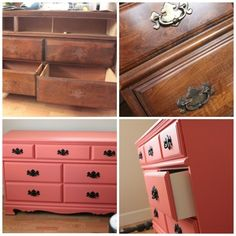 Before and After pics of a re-painted dresser. Coral/black/white/. Stunning! via WoodWound blog