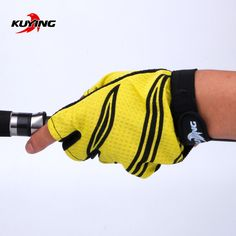 KUYING NEW Arrival Half Finger Anti-Slip Fishing Gloves Colorful Breathable Outdoors Sport Tackle Tools For Men free shipping worldwide