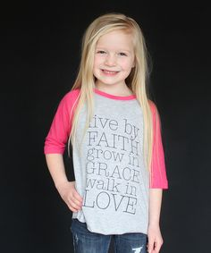 This Gray & Heather Pink 'Live by Faith' Raglan Tee - Toddler & Girls by The Talking Shirt is perfect! #zulilyfinds