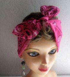Hair Bandana, Pin up Rockabilly Head Scarf, 50s Inspired Hair, Fuschia Print Hairband, Hair Accessory, Bohemian Wear, Dread Band by CrochetnMoreByAlida on Etsy