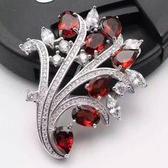 Natural red garnet brooch S925 silver Natural gemstone brooch fine jewelry #GemstoneBrooches
