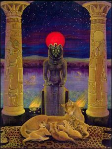 Sekhmet The Right Eye of Ra Artist Unknown: Read about her myth in The Destruction of Mankind.