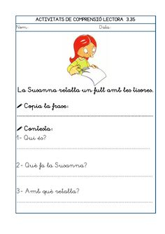 Dori dos 1112_mt005_r1_comprensio_lectora_3 Reading Activities, Conte, Teaching, Writing, School, Speech Therapy, Texts, Teaching Supplies, Sentences