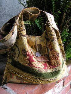 Tattered Vagabond Bag rustic frayed zig zag stitches handmade by GrandmaDede on Etsy