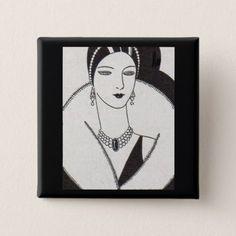 1928 art deco woman button - cyo diy customize unique design gift idea