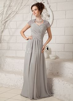 [$107.99] Silver Sweetheart Lace Chiffon Elastic Woven Satin Evening Dress
