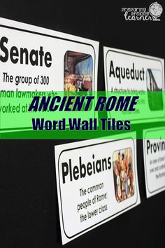 Add academic vocabulary to your classroom decor with these word wall tiles for Ancient Rome.  The words and definitions are large and in middle school friendly language and the pictures included help students visualize what they are learning about! Vocabulary Word Walls, Academic Vocabulary, Social Studies Games, Vocabulary Instruction, Middle School Teachers, Ancient Rome, Task Cards, Classroom Decor, Wall Tiles