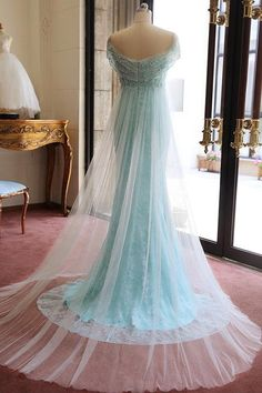 Shop For Blue A Line Court Train Off Shoulder Low Back Beading Long Prom Dress,Party Dress P185 At ombreprom.org