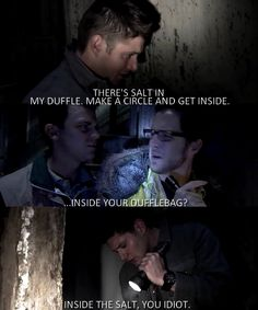 Season 3, episode 13, Ghost facers. Even if Dean Winchester meant duffle bag, I wouldn't question it.