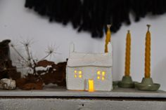 Ahhh Christmas, (or to me preferably called) Winter Solstice! I love this time of the year (sans weather & darkness). Irish Christmas, Christmas Time, Xmas, Christmas Ideas, Christmas Crafts, Chandeliers, Clay Houses, Miniature Houses, Clay Art Projects