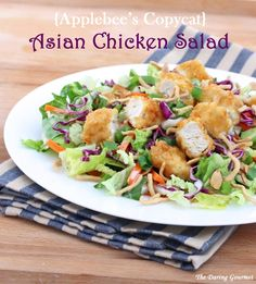 Daring Gourmet: Applebee's Asian chicken salad copycat recipe (Different Dressing Proportions as well as greens amounts) Asian Recipes, Healthy Recipes, Ethnic Recipes, Cat Recipes, Asian Chicken Salads, Restaurant Recipes, Dinner Recipes, Applebee's Restaurant, Salad Ingredients