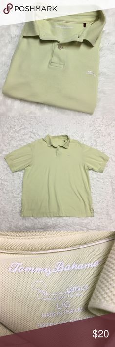 Tommy Bahama Polo Shirt : F Tommy Bahama Polo Shirt men's size large good used condition yellowish green in color  Approximate measurements  ▪️Pit to Pit ▪️Shoulder to Hem Thank you for checking out my closet! Offers are always welcome or bundle for bigger savings. If you have any questions feel free to ask! Tommy Bahama Shirts Polos