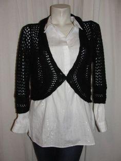 WHITE HOUSE BLACK MARKET Black Acrylic Nylon 3/4 SL Shrug Cardigan Sweater Sz XS #WhiteHouseBlackMarket #Shrug #WorkCasual