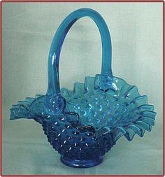 Fenton Colonial Blue Hobnail Glass Basket