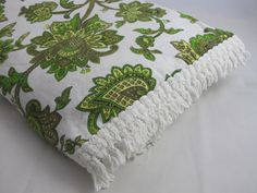 Double Size Vintage Bed Spread Green Flowers On by YukoTrading, £22.00