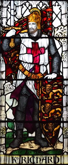 The Crusader Window detail - King Richard I of England (Coeur de Lion) in the Church of St Thomas and St Edmunds @ Salisbury, Wiltshire.UK