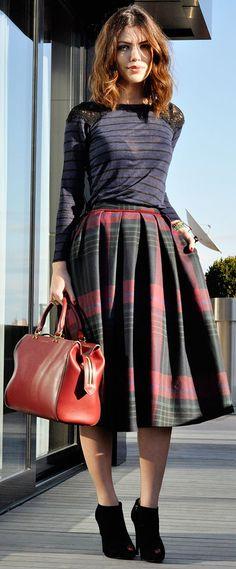 Cieloita Tartan Midi Skirt by Maritsa. I have similar skirt in all grays