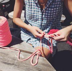 Spot of sunshine knitting at lunch. #woolandthegang #summer ☼ ☼