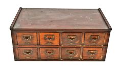 early 20th century eight-drawer mahogany wood yawman factory office filing cabinet with original pulls and detachable header - Products