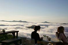 """O Hoshino Resorts Tomamu possui acesso através de um teleférico, num trajeto de 13 minutos. Nessa altura toda, é possível observar as camadas de nuvens por cima, ou seja, a vista é espetacular se você tiver a sorte de pegar um dia repleto delas.  Este espaço não é apenas para hóspedes do hotel, é aberto ao público em geral, então aproveite a temporada do """"mar de nuvens"""" entre as manhãs dos dias 17 de maio e 14 de outubro, e depois do meio dia de 26 de julho à 31 de agosto."""