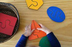 Two piece geometric shape puzzles - How We Montessori