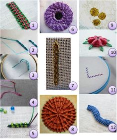Combined chain stitch and button hole stitch; chain stitch; back stitch; bullion knot; beaded Palestrina stitch; whipped wheel shisha; heavy broad stitch; woven whipped wheel; rambler rose; raised spider daisy; holbein stitch; raised stem stitch