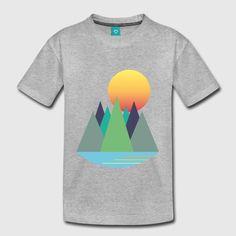 Berge - Sonnenaufgang - Wanderlust Teenager Premium T-Shirt Sonne Illustration, Wanderlust, Berg, Logos, T Shirt, Rising Sun, Sunrise, Landscape, Supreme T Shirt