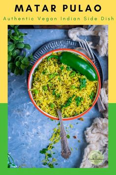 Green Peas Pulao is an aromatic Indian rice with peas dish. This spicy rice green peas recipe needs a few ingredients. Make this vegan rice recipe under 30 minutes and serve as a great side. Rice Recipes Vegan, White Rice Recipes, Rice Recipes For Dinner, Pea Recipes, Vegetarian Recipes Dinner, Indian Food Recipes, Italian Recipes, Ethnic Recipes, Green Peas Pulao Recipe