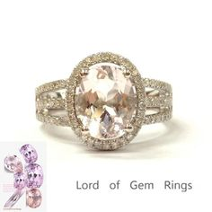 Oval Morganite Engagement Ring Pave Diamond Wedding 14K White Gold 7x9mm Split Shank - Lord of Gem Rings - 1