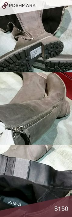 "Lowest Price Buy Now NWOT KDB Boots  sz 6 Block heel grey oxidized leather, high boot, 17"" from heel of foot, outer robust metal zipper, heel just under 2"", platform 3/4"" this is one hardy boot. PRICE FIRM PLEASE, TY! KDB  Shoes Heeled Boots"
