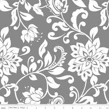 Black and White Fabric Main Floral Mystique by Lila Tueller for Riley Blake Designs Ribbon Retreat, Electric Quilt, Cotton Blossom, Black And White Fabric, Gray Fabric, Black White, Mystique, Book Quilt, Riley Blake