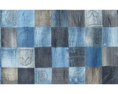 Blue Jean Patchwork Blue Denim Cotton Flatweave Rug