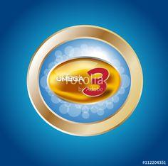 Vector: omega 3 icon and logo , vector . omega 3 and vitamin gold set