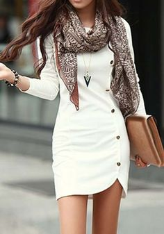 White Plain Buttons Long Sleeve Dress