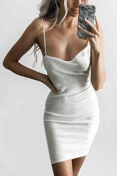 White Sexy Sleeveless Mini Knitted Dress - US$21.95 -YOINS