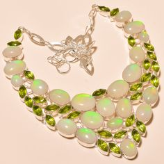 "EXCLUSIVE ETHIOPIAN OPAL WITH FACETED PERIDOT - 925 SILVER JEWELRY NECKLACE 18"" #Unbranded #Choker"