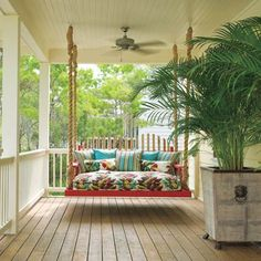 DIY porch swing - my fav! Outdoor Rooms, Outdoor Living, Outdoor Decor, Diy Porch, Porch Bed, Patio Daybed, Porch Ideas, Outside Living, Decks And Porches