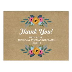 The Rustic Kraft Floral Wreath Wedding Collection Postcard - wedding thank you gifts cards stamps postcards marriage thankyou