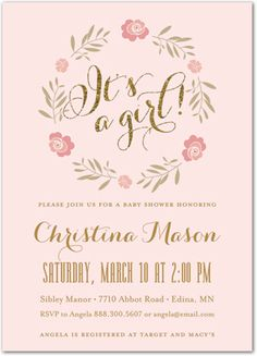 It's a Girl Baby Shower Invitations - Rose Wreath Gold Glitter on pink