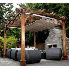Look at the exceptional designing of this attached pergola design. A wonderful pathway is also created in the middle of the pergola that looks so impressive. Backyard Canopy, Garden Canopy, Canopy Outdoor, Outdoor Pergola, Backyard Patio, Pergola Ideas, Patio Decks, Pergola Lighting, Rustic Pergola