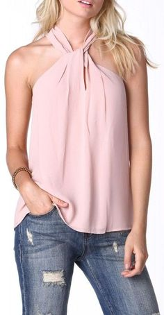 Unlock Me Halter Blouse in Blush