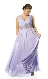 V-neck chiffon formal gown with pleated surplice bodice  (SC7153)